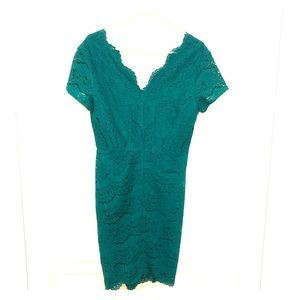 Emeral Green Lace Mini Dress